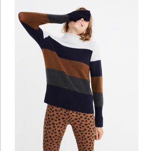 Madewell Inland Striped Turtleneck Sweater Small